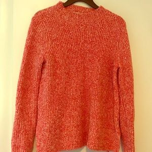 Loft XS cable knit sweater pink/white